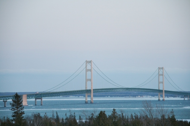 "The ""real"" Mackinac Bridge last night"