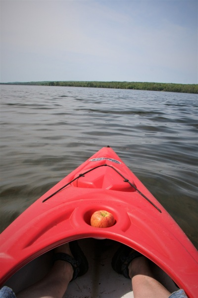 Look at those kayak feet!  Now, would you think there might be a snake in your kayak?