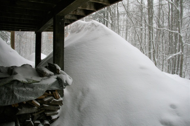 Snow beneath our deck.  Mostly shoveled off by Yours Truly